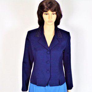 Blazer size 6P navy blue linen-look 100% polyester
